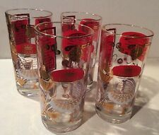 Set 4 Vintage Hi Ball Hiball Tom Collins Glasses Shot Glass Red Gold Overlay