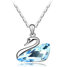 Aqua Crystal Swan Pendant Necklace for Birthday Mothers Day Graduation (26586)