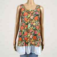 Matilda Jane Open Orchard Adventure Begins Floral Tank Top SMALL Sheer Chiffon