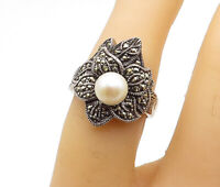 925 Sterling Silver - Vintage Pearl & Marcasite Cocktail Ring Sz 6 - R15376