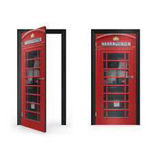 British Red Telephone Box Vinyl Sticker for Door / DoorWrap / Door Skin / Doo...