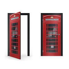 Caja de teléfono roja británica Pegatina de Vinilo para puerta/doorwrap/Piel De Puerta/Doo..