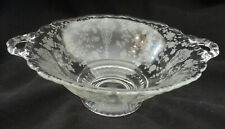 "Cambridge Crystal Rose Point Low Footed Comport Bowl, 2-Handled, 8.5"" wide"