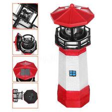 Lighthouse Solar LED Light Garden Fence Outdoor Smart Sensor Rotating Lamp