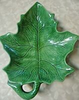 Vintage Holland Mold Pottery Large Green Leaf Bowl/ Candy Dish