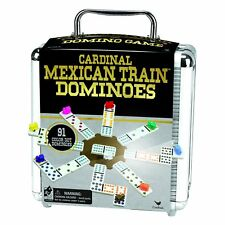 Mexican Train Domino Game Aluminum Case Double 12 Color Dominos Markers Score Pa