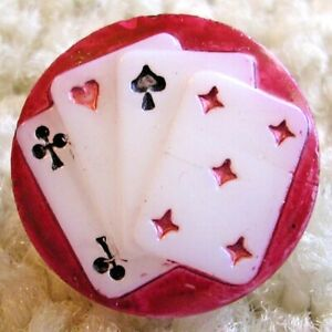 Absolutely Fabulous VICE Vintage deck of cards glass vice button,ca. 1920s/30a