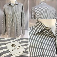 Aster Dress Shirt 16 35 Gray Stripe 100% Cotton Made Italy Worn Once YGI 8160