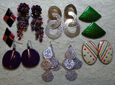 VINTAGE TO NOW LARGE MULTI COLOR ASSORTED DANGLE PIERCED EARRINGS LOT