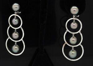 Assael Prince Dimitri Heavy 18K WG Tahitian pearl drop clip-on dangle earrings