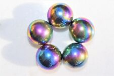 5 CHARGED Platinum Silver Rainbow Magnetic Hematite Spheres 500cts
