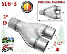 """Y-Pipe 3"""" Single x 2 1/4"""" Dual Exhaust Adapter Connector Coupling"""