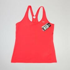New listing Under Armour Heat Gear Racer Vest Tank Top Pink Fitted Size LARGE Gym Yoga BNWT