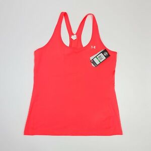 Under Armour Heat Gear Racer Vest Tank Top Pink Fitted Size LARGE Gym Yoga BNWT