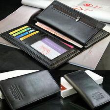 Men's Black Long Leather Wallet Pockets Money Purse ID Credit Card Clutch Bifold
