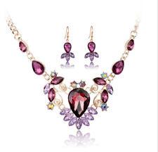 Drip Purple Austrian Rhinestone Necklace Earrings Set Bridal Prom Party N62p
