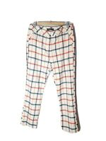 GLASSONS Size 14 Beige Tartan High Rise Tapered Pants Zip Pockets Y2K Style