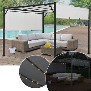 Pavillon Pergola Gartenzelt Terrassendach Sonnenschutz LED Licht Metall Juskys®