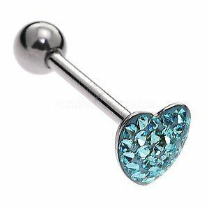Steel Jewelled Heart Tongue Bar - Blue - 1.6 x 16mm