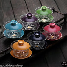 glass teaware cup bowl set Chinese gaiwan tea service porcelain lid cup saucer