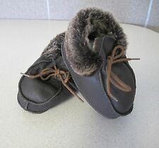 Baby shoes Brown fur shearling moccasins style