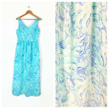 Vineyard Vines Tropical Maxi Dress Size 8 Caribbean Blue Palm Leaf Tank Aqua