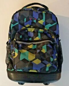 J World New York Sunrise Rolling Backpack Color Cubes Pre-Owned