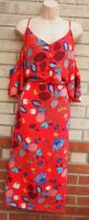 RED CUT OUT SHORT SLEEVE BARDOT OFF SHOULDER A LINE MIDI BUTTONED TEA DRESS 22