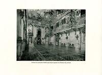 Festsaal Schloss Ansbach Kunstdruck 1927 von Theodor Alt * Döhlau  † Ansbach *