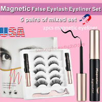 Waterproof Magnetic Eyeliner with 5 Pairs Eyelashes Tweezer Long Lashes Kit Set