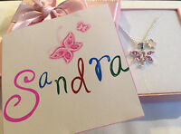personalised ANY NAME flowergirl bridesmaid pink butterfly necklace in gift box