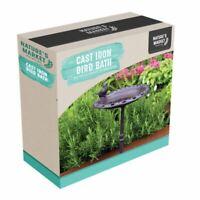 Cast Iron Garden Ornamental Bird Bath Feeder Freestanding for Wild Birds