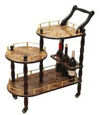 New Uniquewise 3-Tier Serving Tea Cart, Gold Marble Finish, QI003132