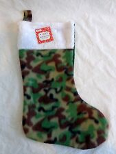 "Camouflage Christmas Stocking 18"" Green Brown White Cuff Polyester Fleece"