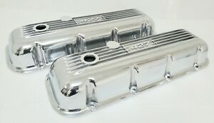 NOS Ansen Big Block Chevy 427 Valve Covers - Finned Polished - Cast Aluminum