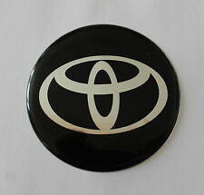 TOYOTA Sticker/Decal - Chrome on Black 49mm Diameter HIGH GLOSS DOMED GEL FINISH