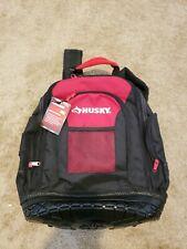 """Husky jobsite backpack 19""""in black and red water resistant WATERPROOF BASE"""