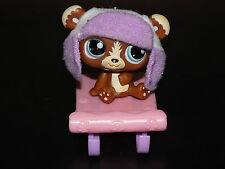 rare Figurine littlest lps petshop pet shop panda marron et sa luge 1075