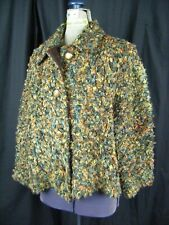 St.John By Marie Gray Brown Textured Chenille Buttons Jacket-Bust 44/M