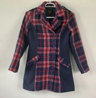 Anthropologie Jack Women's Red & Blue Long Coat Jacket Size Small
