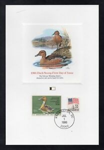 Scott # RW53, used, $7.50 Duck Stamp, 1986, Fleetwood Proof Card, First Day