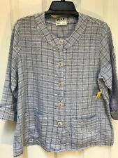 NWT FLAX Womens Linen Jacket/Top Sz S 3/4 Sleeve Checked Buttondown Blue