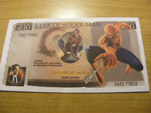 A Bank of Spider-Man Novelty 10 Pounds Note-very nice condition