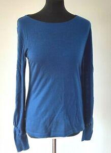 LK Bennett TJ Karina Top Wool Blend Thin Jumper Jersey Long Sleeve Blue S