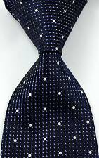 New Classic Patterns Dark Blue White JACQUARD WOVEN Silk Men's Tie Necktie