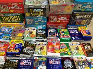100 Unopened Vintage NFL Football Cards in factory Sealed Wax Packs