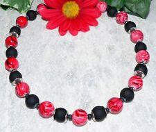 KETTE   SPIRAL Glasperle marmoriert Rot schwarz  Perle schwarz Metallkappe 445a