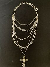Guess Womens Multi Chain Cross Necklace