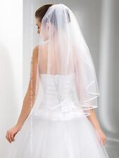 "New 1T White / Ivory Wedding Prom Bridal Elbow Veil With Comb 28"" - Satin Edge"