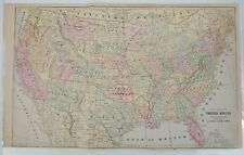 Antique 1892 Mast, Crowell & Kirtpatrick Popular Atlas Map - The United States!
